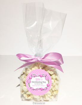 Candy Sweets Pink Personalised Christening Baptism Popcorn Sweet Bags KITS x12