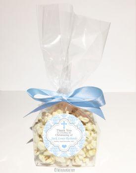 Damask Cross Blue Personalised Christening Baptism Popcorn Sweet Bags KITS x12
