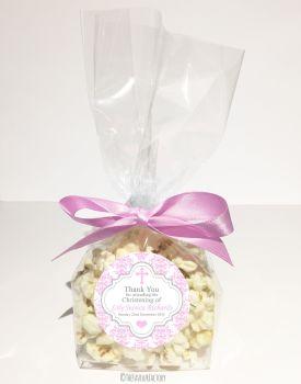 Damask Cross Pink Personalised Christening Baptism Popcorn Sweet Bags KITS x12