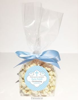 Doves in Blue Personalised Christening Baptism Popcorn Sweet Bags KITS x12