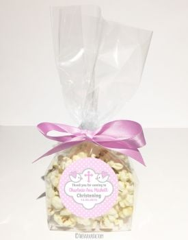 Doves in Pink Personalised Christening Baptism Popcorn Sweet Bags KITS x12