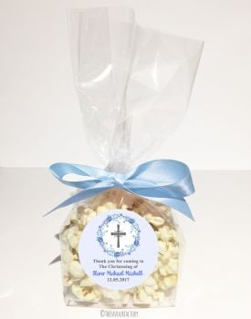 Floral Wreath Cross Blue Personalised Christening Baptism Popcorn Sweet Bags KITS x12
