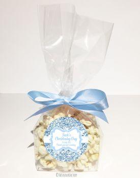 Glitter Blue Personalised Christening Baptism Popcorn Sweet Bags KITS x12