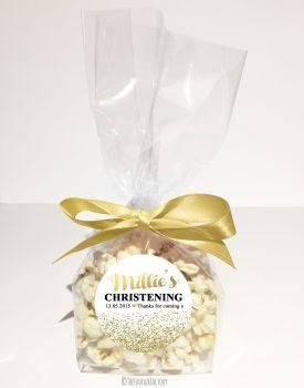 Glitter Confetti Gold Personalised Christening Baptism Popcorn Sweet Bags KITS x12