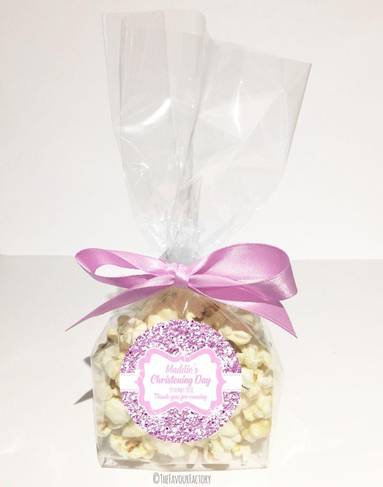 Glitter Pink Personalised Christening Baptism Popcorn Sweet Bags Kits X12