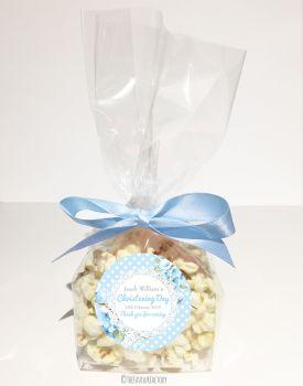 Vintage Polka Dot Lace Blue Personalised Christening Popcorn Sweet Bags KITS x12
