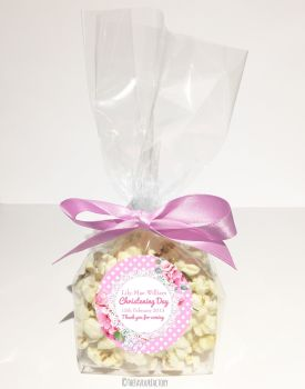 Vintage Polka Dot Lace Pink Personalised Christening Popcorn Sweet Bags KITS x12