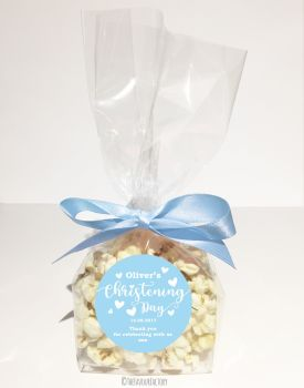 Love Hearts Blue Personalised Christening Baptism Popcorn Sweet Bags KITS x12