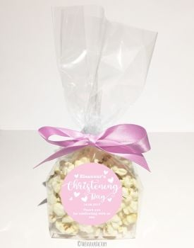Love Hearts Pink Personalised Christening Baptism Popcorn Sweet Bags KITS x12
