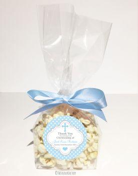 Polka Dot Cross Blue Personalised Christening Baptism Popcorn Sweet Bags KITS x12