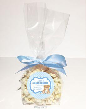 Teddy Bear Blue Personalised Christening Baptism Popcorn Sweet Bags KITS x12