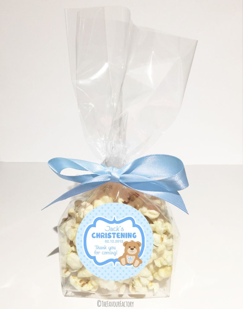 Teddy Bear Blue Personalised Christening Baptism Biodegradable Popcorn Bag
