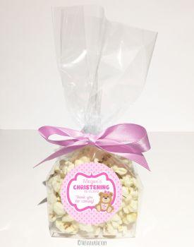 Teddy Bear Pink Personalised Christening Baptism Popcorn Sweet Bags KITS x12