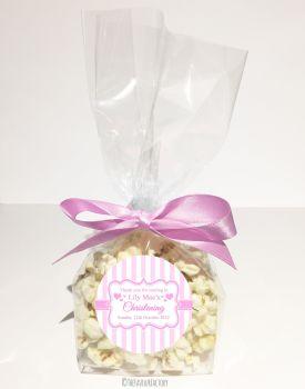 Stripes Pink Personalised Christening Baptism Popcorn Sweet Bags KITS x12