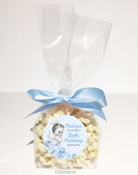 Vintage Baby Blue Florals Personalised Christening Popcorn Sweet Bags KITS x12
