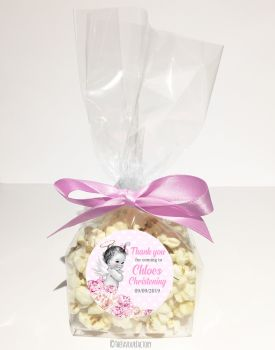 Vintage Baby Pink Florals Personalised Christening Popcorn Sweet Bags KITS x12