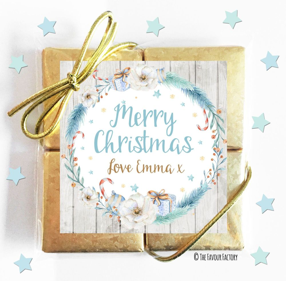 Personalised Christmas 4 Chocolate Quad Favours x1