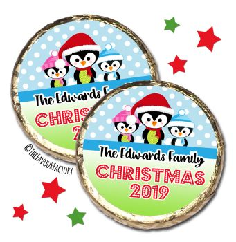 3 Little Penguins Personalised Christmas Dinner Party MINT Chocolate Favours x10