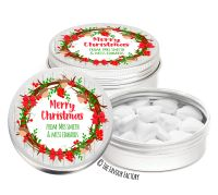 Acorn Berry Wreath Personalised Christmas Dinner Party Favour Tins Keepsakes x1