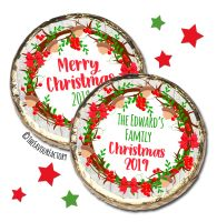 Acorn Berry Wreath Personalised Christmas Dinner Party MINT Chocolate Favours x10