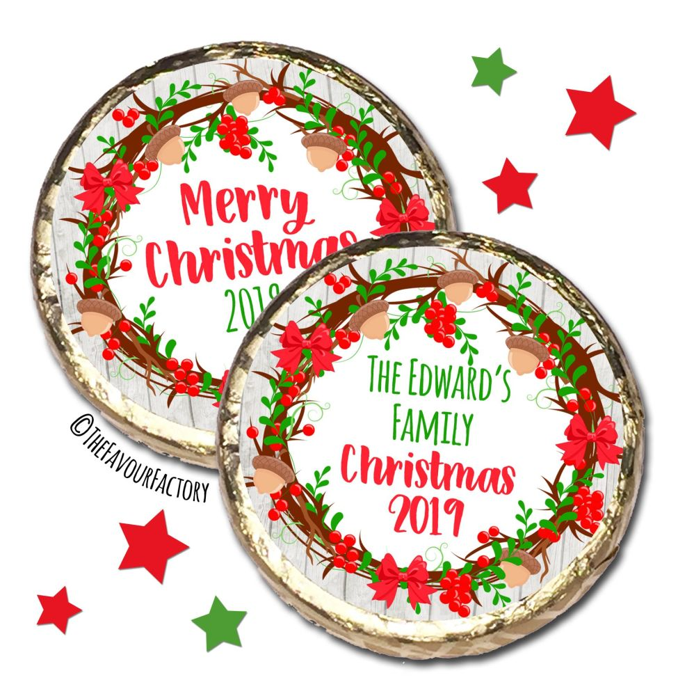Acorn Berry Wreath Personalised Christmas Dinner Party MINT Chocolate Favou
