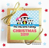 3 Little Penguins Personalised Christmas 4 Chocolate Quad Favours x1
