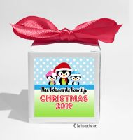 3 Little Penguins Personalised Christmas Favour Boxes KITS x1