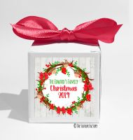 Acorn Berry Wreath Personalised Christmas Favour Boxes KITS x1