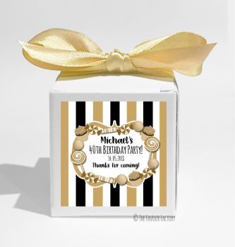 Black & Gold Sweets Personalised Birthday Party Favour Boxes KITS x1