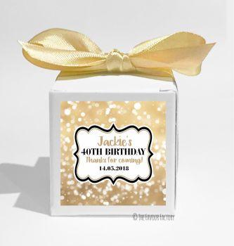 Bokeh Sparkles Personalised Birthday Party Favour Boxes KITS x1