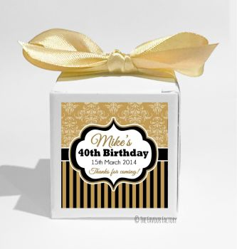 Damask Stripes Personalised Birthday Party Favour Boxes KITS x1