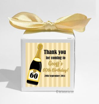 Champagne Stripes Personalised Birthday Party Favour Boxes KITS x1