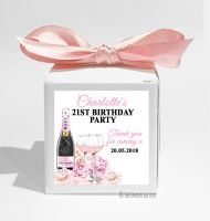 Champagne & Flowers Personalised Birthday Party Favour Boxes KITS x1