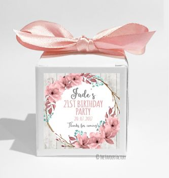 Boho Floral Wreath Personalised Birthday Party Favour Boxes KITS x1