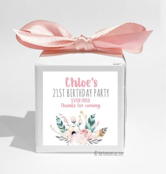 Feather Florals Personalised Birthday Party Favour Boxes KITS x1