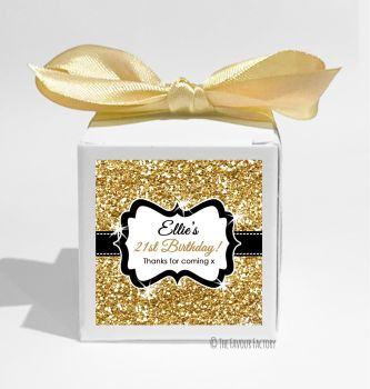 Gold Glitter Personalised Birthday Party Favour Boxes KITS x1