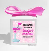 Cocktail Sparkles Personalised Birthday Party Favour Boxes KITS x1