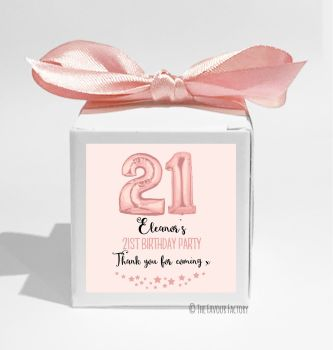 Rose Gold Age Balloons Personalised Birthday Party Favour Boxes KITS x1