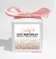 Rose Gold Glitter Confetti Personalised Birthday Party Favour Boxes KITS x1