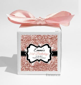 Rose Gold Glitter Personalised Birthday Party Favour Boxes KITS x1
