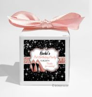 Rose Gold Glitter stilettos Personalised Birthday Party Favour Boxes KITS x1
