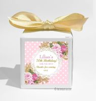 Vintage Ornate Roses Personalised Birthday Party Favour Boxes KITS x1