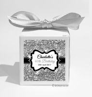 Silver Glitter Personalised Birthday Party Favour Boxes KITS x1