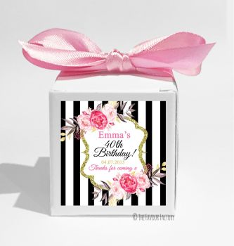 Black Stripe Florals Personalised Birthday Party Favour Boxes KITS x1