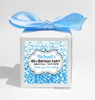 Confetti Blue Personalised Birthday Party Favour Boxes KITS x1