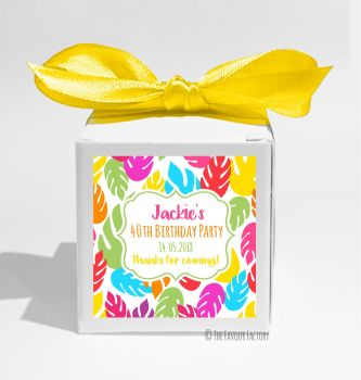 Bright Tropical Leaves Personalised Birthday Party Favour Boxes KITS x1