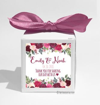 Burgundy Rose Drop Florals Personalised Wedding Favour Boxes DIY KITS x1