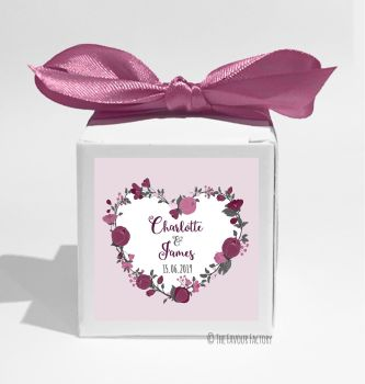 Plum Floral Heart Wreath Personalised Wedding Favour Boxes DIY KITS x1