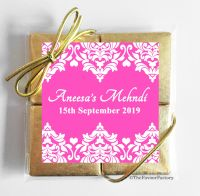 Damask Hearts Personalised Mehndi Wedding 4 Chocolates Quads Favours x1