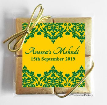 Hunter Green Damask Hearts Personalised Mehndi Wedding Chocolates Quads Favours x1